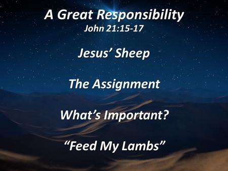 "A Great Responsibility John 21:15-17 Jesus' Sheep The Assignment What's Important? ""Feed My Lambs"""