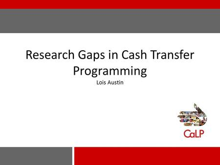Research Gaps in Cash Transfer Programming Lois Austin.