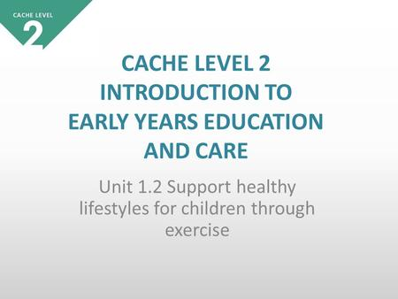 Unit 1.2 Support healthy lifestyles for children through exercise