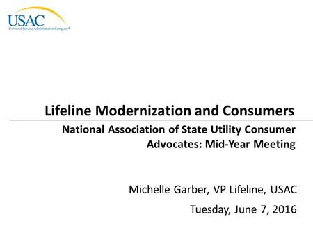 Lifeline Modernization and Consumers National Association of State Utility Consumer Advocates: Mid-Year Meeting Michelle Garber, VP Lifeline, USAC Tuesday,