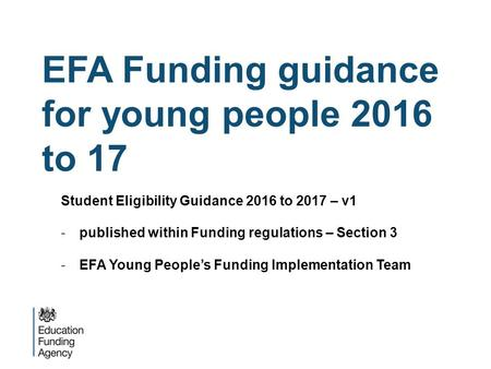 EFA Funding guidance for young people 2016 to 17