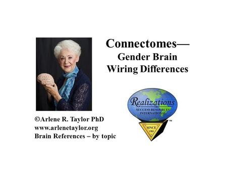 Connectomes— Gender Brain Wiring Differences  Arlene R. Taylor PhD  Brain References – by topic.