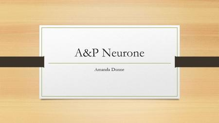 A&P Neurone Amanda Dunne. Lesson Objectives  At the end of this lesson you will be able to  Label a neurone and describe their organisation in nervous.