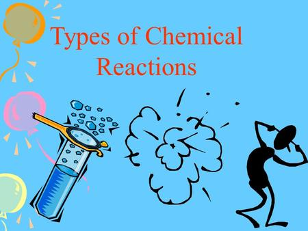 Types of Chemical Reactions. Reactants Products Pb(NO 3 ) 2 + 2KI PbI 2 + 2KNO 3.