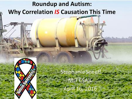 Stephanie Seneff MIT CSAIL April 16, 2016 Roundup and Autism: Why Correlation IS Causation This Time.