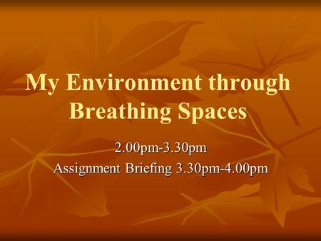 My Environment through Breathing Spaces 2.00pm-3.30pm Assignment Briefing 3.30pm-4.00pm.