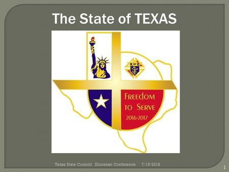 The State of TEXAS 1 Texas State Council Diocesan Conference7/15/2016.