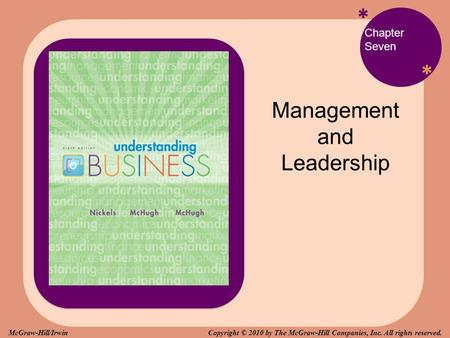 * * Chapter Seven Management and Leadership Copyright © 2010 by The McGraw-Hill Companies, Inc. All rights reserved.McGraw-Hill/Irwin.