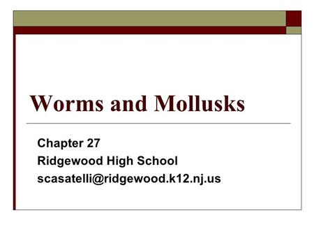 Worms and Mollusks Chapter 27 Ridgewood High School
