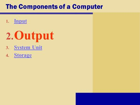 The Components of a Computer 1. Input Input 2. Output 3. System Unit System Unit 4. Storage Storage.