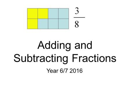 Adding and Subtracting Fractions Year 6/7 2016. Adding Fractions with Common Denominators.