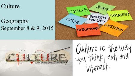 Culture Geography September 8 & 9, 2015. Culture Objective: –Students will examine the themes of culture and trace its significance to geography. Essential.
