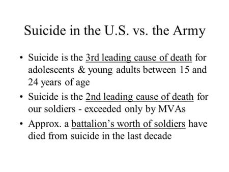 Suicide in the U.S. vs. the Army Suicide is the 3rd leading cause of death for adolescents & young adults between 15 and 24 years of age Suicide is the.