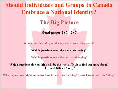Should Individuals and Groups In Canada Embrace a National Identity? The Big Picture Read pages 286 - 287 Which questions do you already know something.