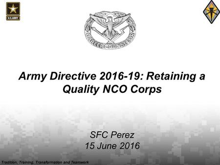 Tradition, Training, Transformation and Teamwork Army Directive 2016-19: Retaining a Quality NCO Corps SFC Perez 15 June 2016.