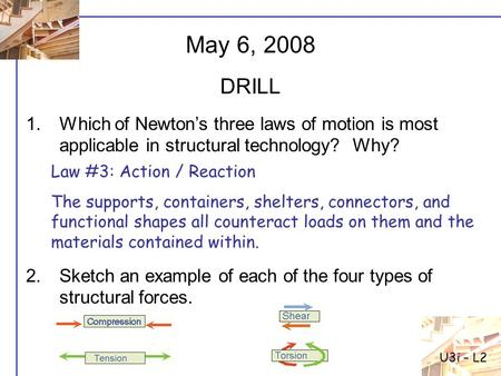 1.Which of Newton's three laws of motion is most applicable in structural technology? Why? 2.Sketch an example of each of the four types of structural.