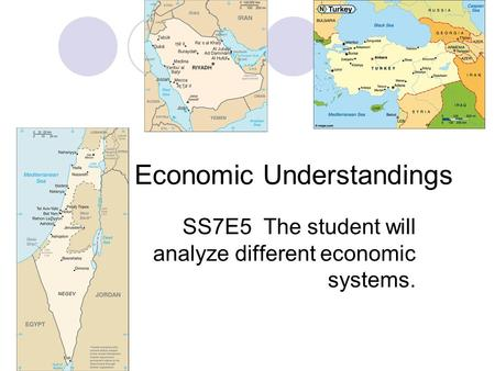 Economic Understandings SS7E5 The student will analyze different economic systems.