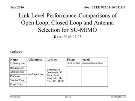 InterDigital, Inc. Submission doc.: IEEE 802.11-16/0911r1 July 2016 Link Level Performance Comparisons of Open Loop, Closed Loop and Antenna Selection.