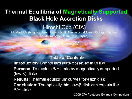 Thermal Equilibria of Magnetically Supported Black Hole Accretion Disks Table of Contents Introduction: Bright/Hard state observed in BHBs Purpose: To.