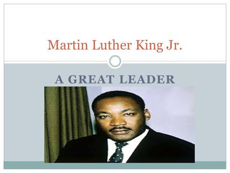 A GREAT LEADER Martin Luther King Jr.. Background Overview Early Years Education Family Career.