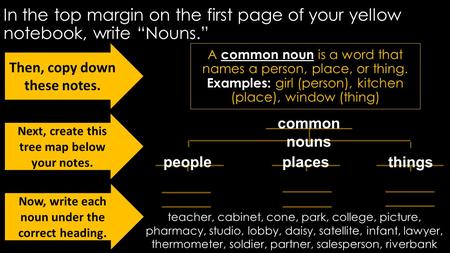 "In the top margin on the first page of your yellow notebook, write ""Nouns."" A common noun is a word that names a person, place, or thing. Examples: girl."