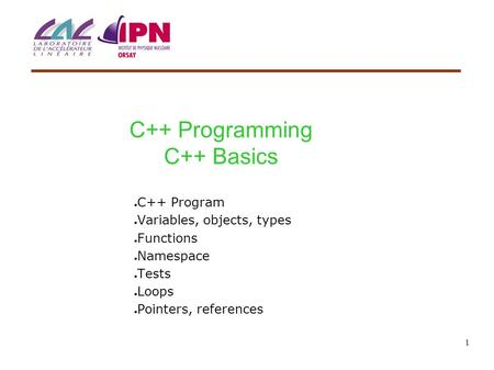 1 C++ Programming C++ Basics ● C++ Program ● Variables, objects, types ● Functions ● Namespace ● Tests ● Loops ● Pointers, references.