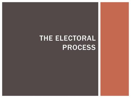THE ELECTORAL PROCESS.  election process begins with the nomination of candidates which means the selection of one candidate from each of the 2 major.