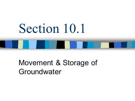 Section 10.1 Movement & Storage of Groundwater. Warm Up 1.Look up the definitions and use in a sentence for: 1.Topography 2.Porosity 3.Runoff 4.Saturation.