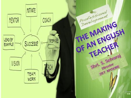"What does ""Making"" signify in the question- What goes into the making of an English Teacher?  In the context of the title,  to interpret attitudes towards."