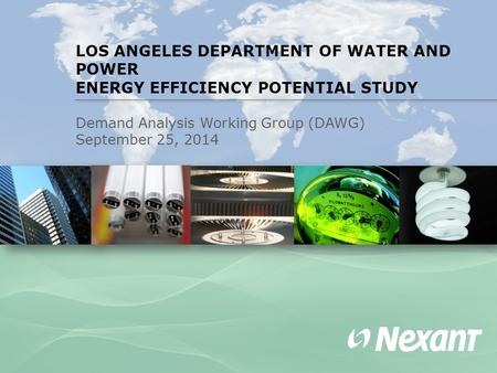 LOS ANGELES DEPARTMENT OF WATER AND POWER ENERGY EFFICIENCY POTENTIAL STUDY Demand Analysis Working Group (DAWG) September 25, 2014.