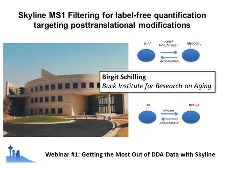 Skyline MS1 Filtering for label-free quantification targeting posttranslational modifications OHOPO 3 H - NH 3 + HNCOCH 3 kinases phosphatase acetyl transferases.