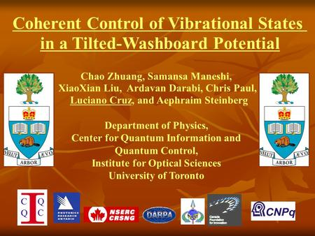 Chao Zhuang, Samansa Maneshi, XiaoXian Liu, Ardavan Darabi, Chris Paul, Luciano Cruz, and Aephraim Steinberg Department of Physics, Center for Quantum.