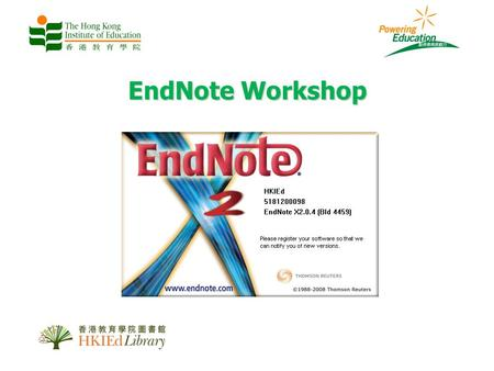 EndNote Workshop. What is EndNote? A software tool for publishing and managing bibliographies Create your own database of citations, bibliographies and.