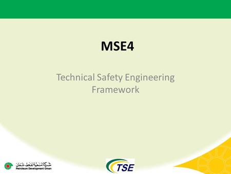 MSE4 Technical Safety Engineering Framework. Technical Safety Function – Core Activities CFDH Skill pool management Skill-pool health – Job Descriptions,