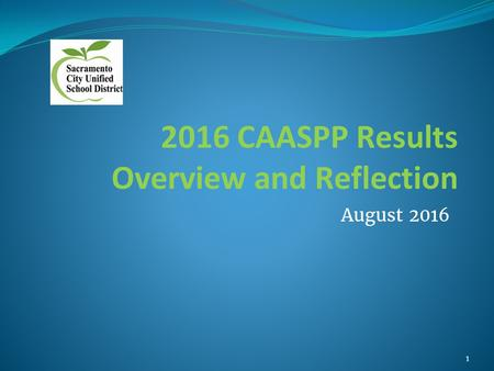 2016 CAASPP Results Overview and Reflection August 2016 1.