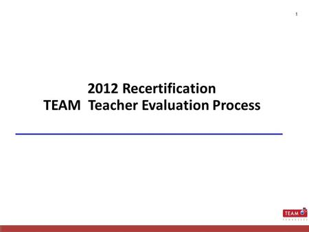 1 2012 Recertification TEAM Teacher Evaluation Process.