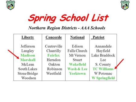 Spring School List Northern Region Districts - AAA Schools Liberty Jefferson Langley Madison Marshall McLean South Lakes Stone Bridge Woodson Concorde.