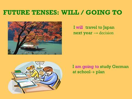 FUTURE TENSES: WILL / GOING TO I will travel to Japan next year → decision I am going to study German at school  plan.