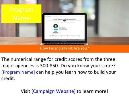 How Financially Fit Are You? The numerical range for credit scores from the three major agencies is 300-850. Do you know your score? [Program Name] can.