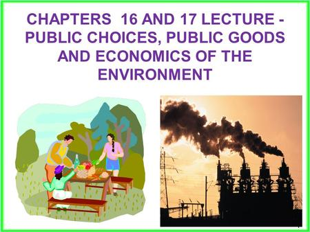 11 CHAPTERS 16 AND 17 LECTURE - PUBLIC CHOICES, PUBLIC GOODS AND ECONOMICS OF THE ENVIRONMENT.