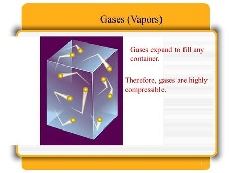 1 Gases (Vapors) Gases expand to fill any container. Therefore, gases are highly compressible.