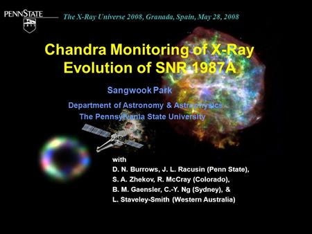 The X-Ray Universe 2008, Granada, Spain, May 28, 2008 Chandra Monitoring of X-Ray Evolution of SNR 1987A Sangwook Park Department of Astronomy & Astrophysics.