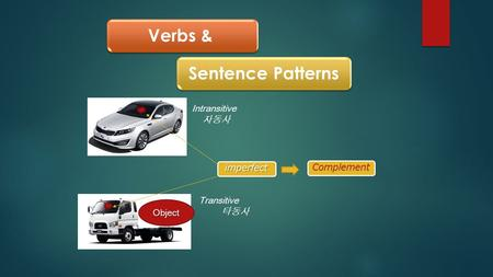 Verbs &Sentence Patterns Intransitive 자동사 Transitive 타동사Object imperfect Complement.