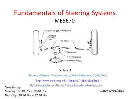 Fundamentals of Steering Systems ME5670