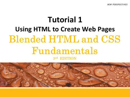 Blended HTML and CSS Fundamentals 3 rd EDITION Tutorial 1 Using HTML to Create Web Pages.