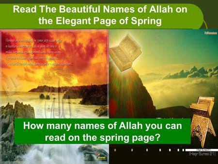 Read The Beautiful Names of Allah on the Elegant Page of Spring How many names of Allah you can read on the spring page?