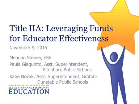 Title IIA: Leveraging Funds for Educator Effectiveness November 9, 2015 Meagan Steiner, ESE Paula Giaquinto, Asst. Superintendent, Fitchburg Public Schools.