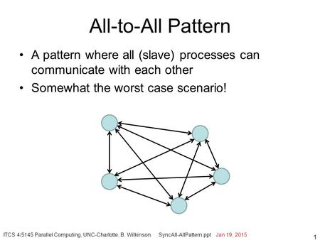 All-to-All Pattern A pattern where all (slave) processes can communicate with each other Somewhat the worst case scenario! 1 ITCS 4/5145 Parallel Computing,