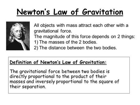 Newton's Law of Gravitation Definition of Newton's Law of Gravitation: The gravitational force between two bodies is directly proportional to the product.