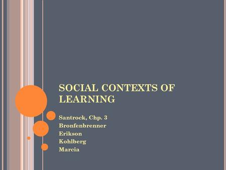 SOCIAL CONTEXTS OF LEARNING Santrock, Chp. 3 Bronfenbrenner Erikson Kohlberg Marcia.